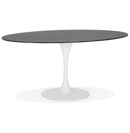 Zwarte ovalen eettafel 'CHAMAN' van glas met marmereffect en witte centrale poot - 160x105 cm