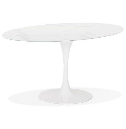 Witte ovalen design eettafel 'CHAMAN' van glas met marmereffect - 160x105 cm