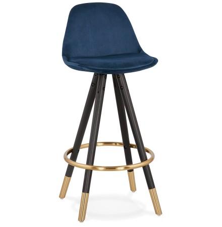 Halfhoge design barkruk 'CHICAGO MINI' in blauw fluweel en 4 poten in zwart hout