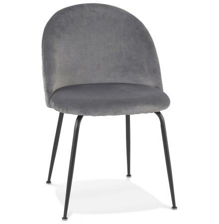 Retro stoel 'CLARENCE' van lichtgrijs fluweel met zwarte metalen poten