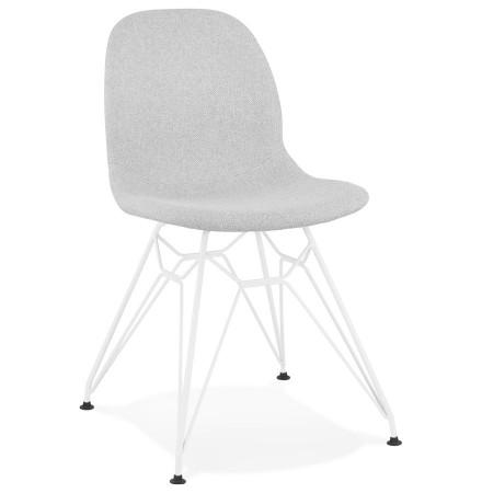 Designstoel 'DECLIK' in lichtgrijze stof met witte metalen onderstel