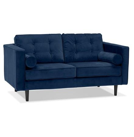 Donkerblauwe rechte fluwelen design zetel 'DELYA' - Zetel met 2 plaatsen