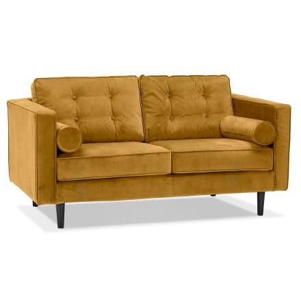 Rechte design zetel 'DELYA' van mosterdgeel fluweel - Zetel met 2 plaatsen