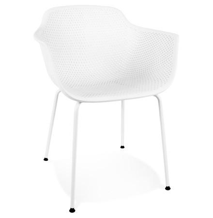 Witte geperforeerde stoel met armleuningen 'DRAK' binnen/buiten