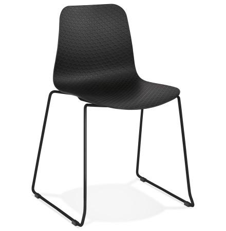 Moderne, zwarte stoel 'EXPO' met poten van zwart metaal