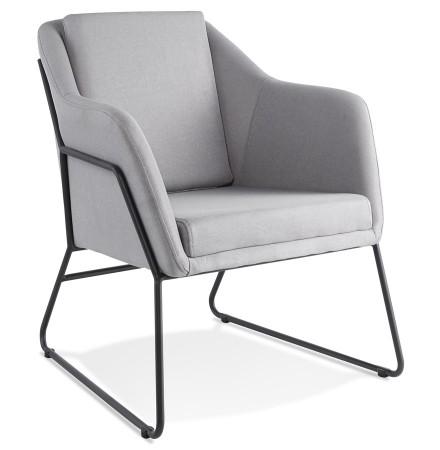 Design loungefauteuil 'FABIO' van lichtgrijze stof