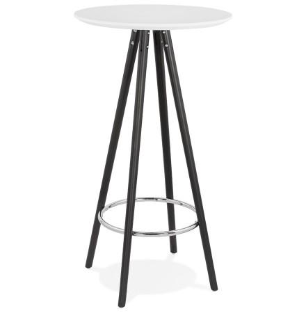 Hoge tafel / Statafel 'GALA' in wit hout en met zwarte poten