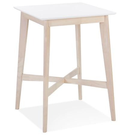 Hoge tafel 'GALLINA' van wit en natuurlijk afgewerkt hout