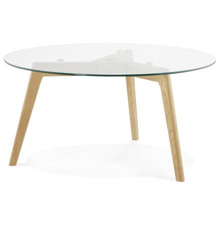 Lage ronde salontafel 'GLAZY' van glas