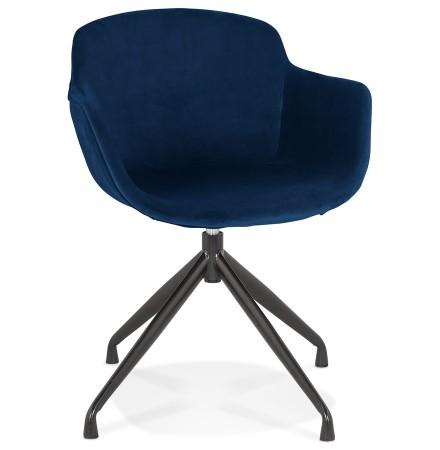 Design stoel met armleuningen 'GRAPIN' van blauw velours