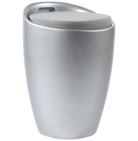Zilverkleurig bijzetkrukje met opbergruimte 'GUM'