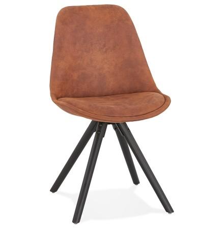 Comfortabele stoel 'HARRY' in bruine microfiber en zwarte poten