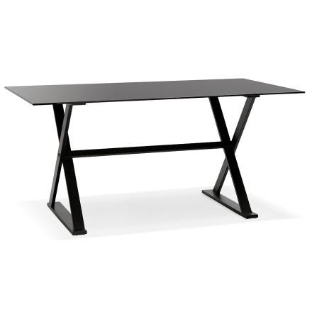 Met kruis-vormige voeten design eettafel / bureau 'HAVANA' van zwart glas - 160x80 cm