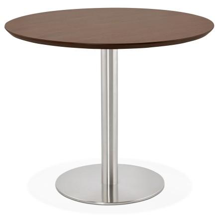 Kleine ronde bureautafel / eettafel 'INDIANA' met notenhouten afwerking - Ø 90 cm