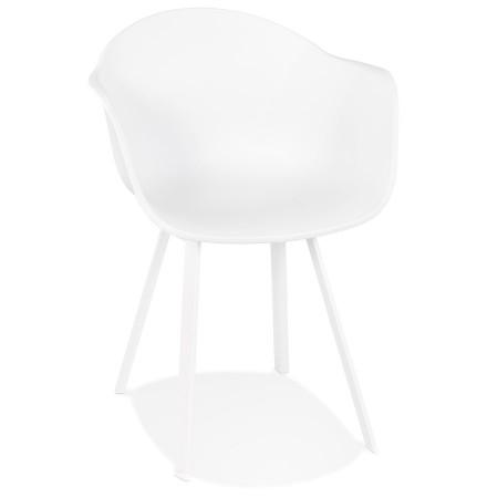 Witte design stoel 'JAVEA' met armleuningen voor binnen/buiten - bestel per 2 stuks / prijs voor 1 stuk