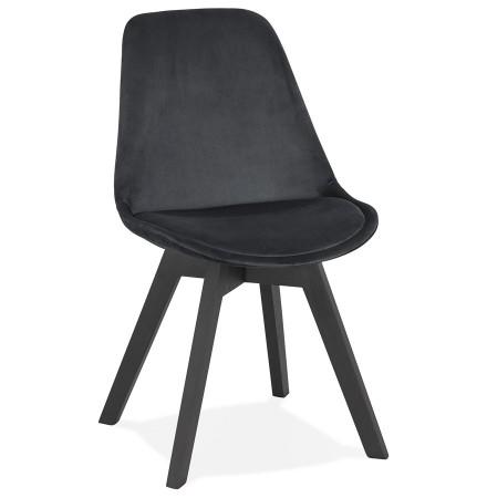 Stoel in zwart fluweel 'JOE' met structuur in zwart hout