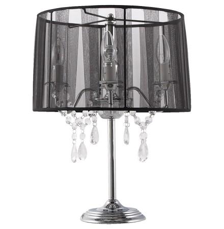Zwarte, barok bedlamp 'KLASSIK' in de vorm van een kandelaar, met passementstrookjes