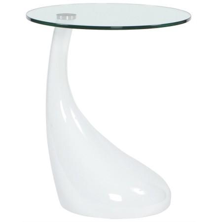 Design bijzettafel 'KOMA' met console uit doorzichtig glas en wit gelakte voet