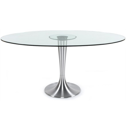 Ovalen tafel 'KRYSTAL' uit doorzichtig gehard glas - 160x108 cm