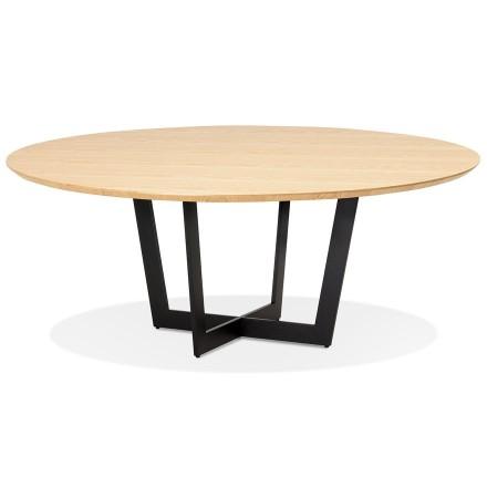 Ronde eettafel 'LULU' van zwart metaal en natuurkleurig hout - Ø140 cm