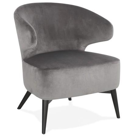 Vintage loungefauteuil 'LUXY' van grijze velours met zwarte houten pootjes