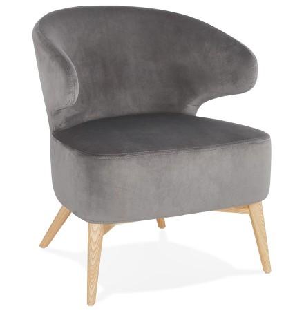 Vintage loungefauteuil 'LUXY' van grijze velours met naturel houten pootjes