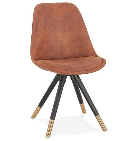 Design stoel 'MAGGY in bruine microfiber en poten in zwart hout