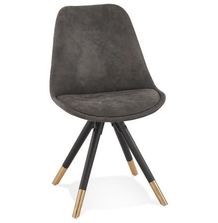 Design stoel 'MAGGY' van grijze microvezel en zwarte houten poten