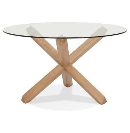Ronde designtafel 'MAGIK' in glas en massief eik