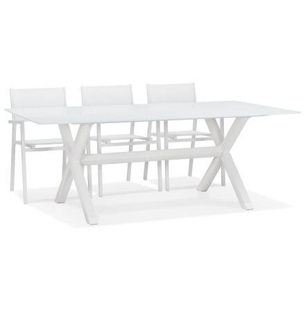 Witte tuintafel 'MALAGA' met glas en X-vormig onderstel