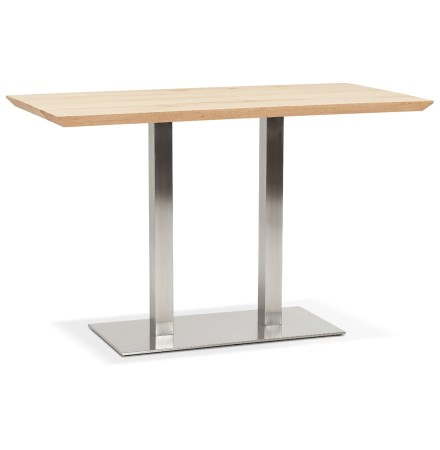 Hoog tafeltje 'MALIBU BAR' van massief hout met stalen onderstel - 160x80 cm