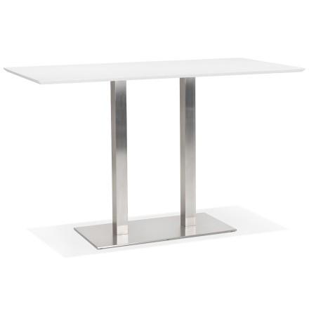 Witte hoge design tafel 'MAMBO BAR' met geborsteld metalen poot - 180x90 cm