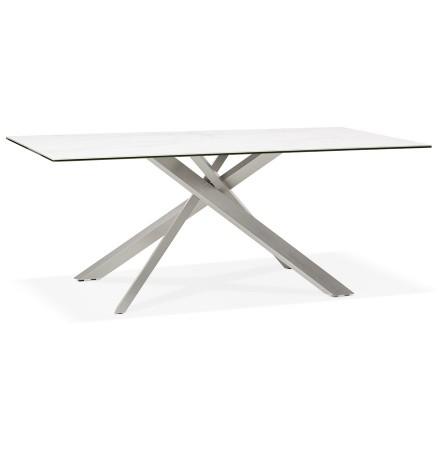 Eettafel 'MARKINA' in witte keramiek met metalen onderstel - 180 x 90 cm