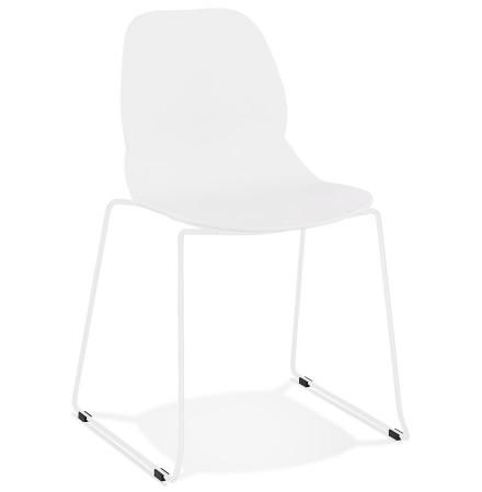 Designstoel 'NUMERIK' wit met poten van wit metaal