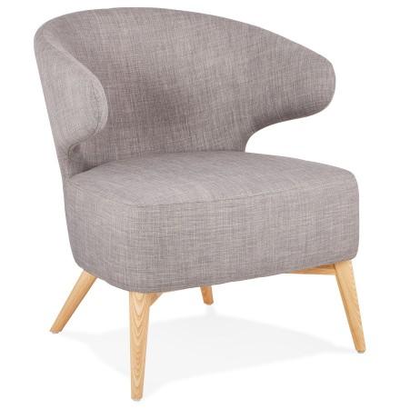 Lounge chair 'ODILE' in grijze stof en natuurlijke poten van hout
