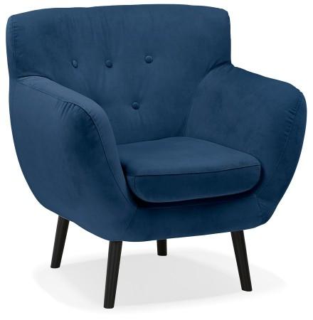 1-persoons lounge stoel 'OPERA MINI' in olieblauw fluweel