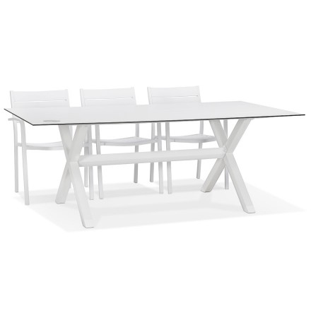 Witte design tuintafel 'PORTO' met X-vormig onderstel