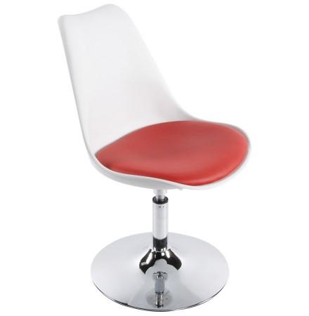 Moderne, wit en rode, in de hoogte regelbare draaistoel 'QUEEN'