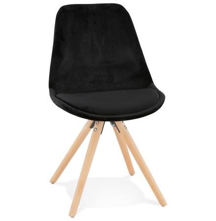 Vintage 'RICKY' stoel in zwart fluweel met poten in natuurlijk hout