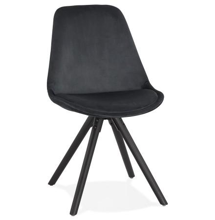 Vintage stoel 'RICKY' in zwart fluweel en poten in zwart hout