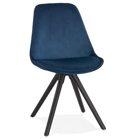 Vintage stoel 'RICKY' in blauw fluweel en poten in zwart hout