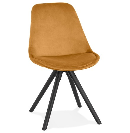 Vintage stoel 'RICKY' in mosterd fluweel en poten in zwart hout