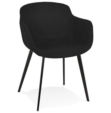 Zwarte stoffen stoel met armleuningen 'RIGA'
