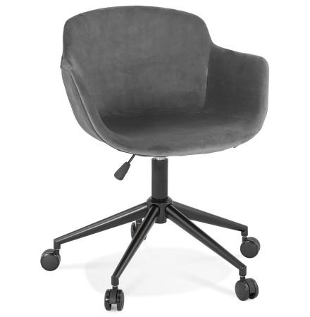 Chaise de bureau 'ROLLING' en velours gris sur roulettes