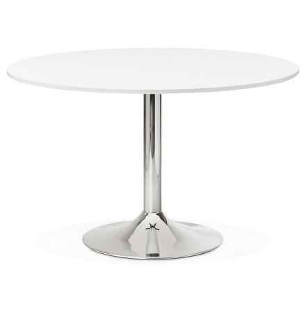 Ronde, witte bureau-/eettafel 'SAOPOLO' - Ø 120 cm