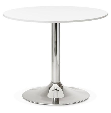 Kleine, ronde, witte bureau-/eettafel 'SAOPOLO' - Ø 90 cm