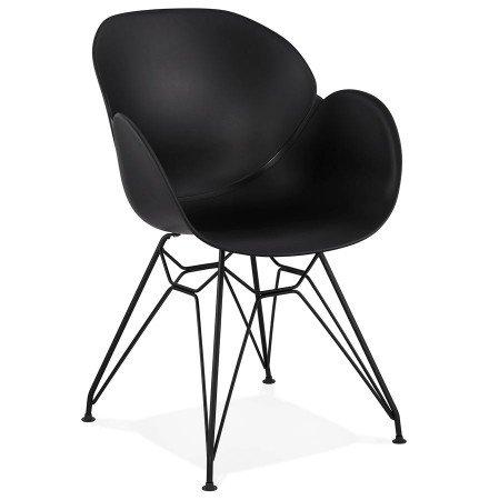 Design stoel 'SATELIT' zwart industriële stijl met zwart metalen voeten