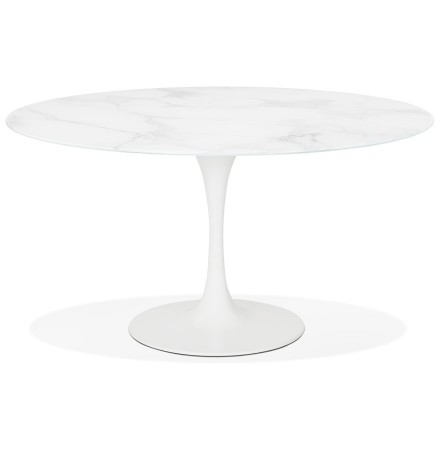 Design ronde eettafel 'SHADOW' van wit glas met marmereffect - Ø 140 CM