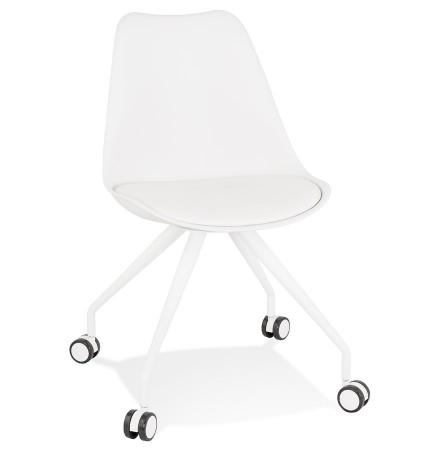 Witte bureaustoel op wieltjes 'SKIN' met metalen frame
