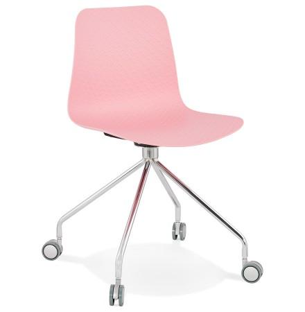 Design bureaustoel 'SLIK' roze op wielen